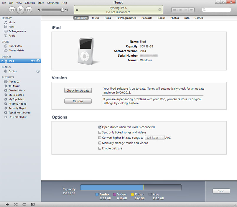 Updating files on ipod freezes